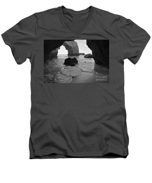 Idyllic Cave In Monochrome Men's V-Neck T-Shirt by Angelo DeVal