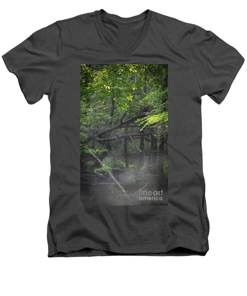 Men's V-Neck T-Shirt featuring the photograph If A Tree Falls In The Woods by Skip Willits