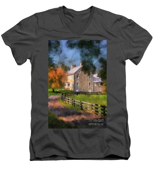 Men's V-Neck T-Shirt featuring the digital art If These Walls Could Talk  by Lois Bryan