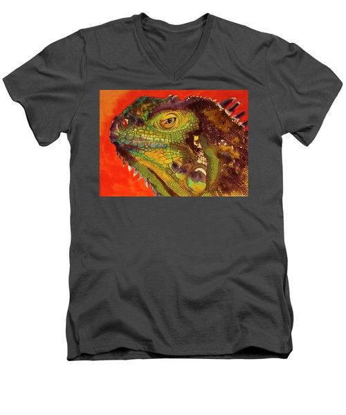 Men's V-Neck T-Shirt featuring the painting Iggy by Cynthia Powell