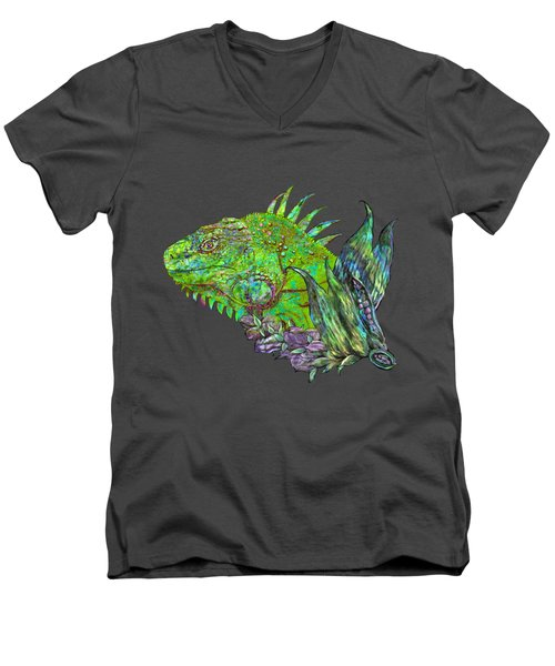 Men's V-Neck T-Shirt featuring the mixed media Iguana Cool by Carol Cavalaris