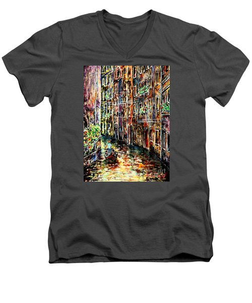 Men's V-Neck T-Shirt featuring the painting Il Giro Finale Del Gondoliere by Alfred Motzer
