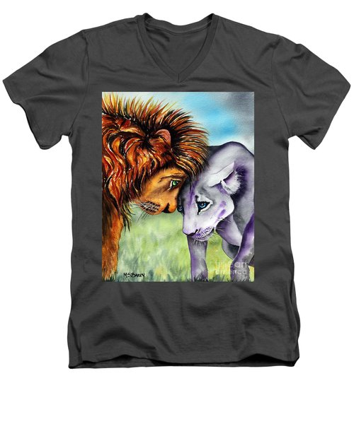 Men's V-Neck T-Shirt featuring the painting I'm In Love With You by Maria Barry