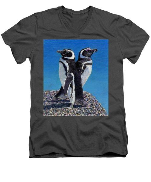I'm Not Talking To You - Penguins Men's V-Neck T-Shirt by Patricia Barmatz