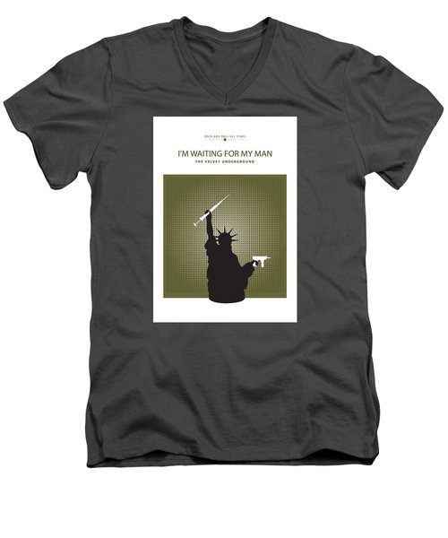 Men's V-Neck T-Shirt featuring the drawing I'm Waiting For My Man -- The Velvet Underground by David Davies