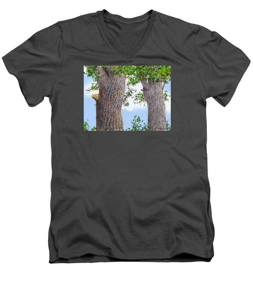 Men's V-Neck T-Shirt featuring the drawing Imaginary Trees by Jim Hubbard