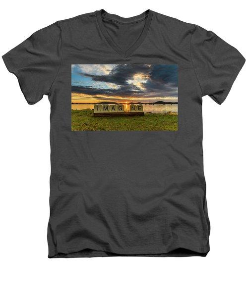 Imagine Sunrise Waterscape Over The Bay Men's V-Neck T-Shirt