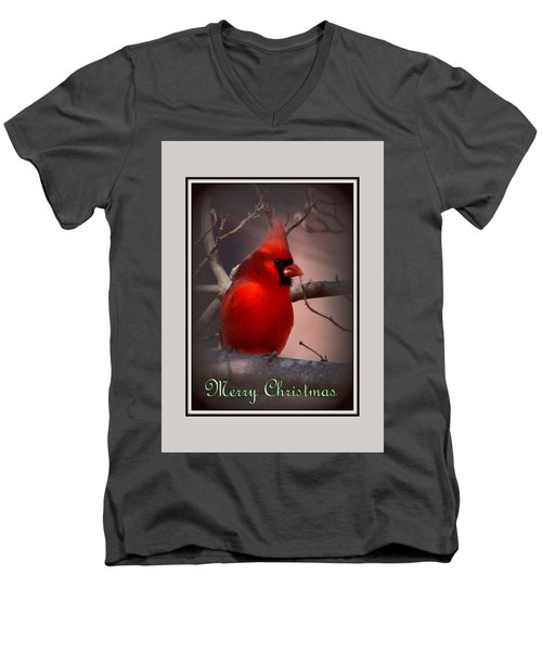 Img_3158-005 - Northern Cardinal Christmas Card Men's V-Neck T-Shirt