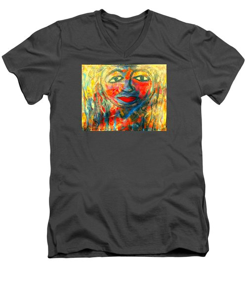 Men's V-Neck T-Shirt featuring the painting Imperfect Me by Fania Simon