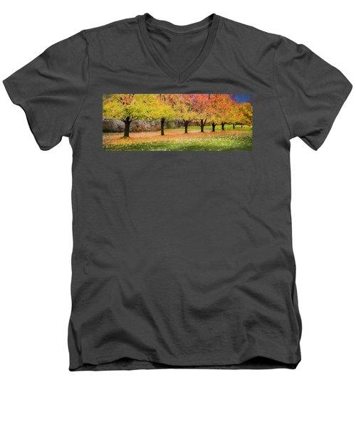 Impressionist Autumn Men's V-Neck T-Shirt by Theresa Tahara