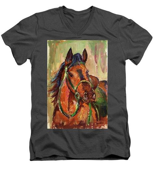 Impressionist Horse Men's V-Neck T-Shirt by Janet Garcia