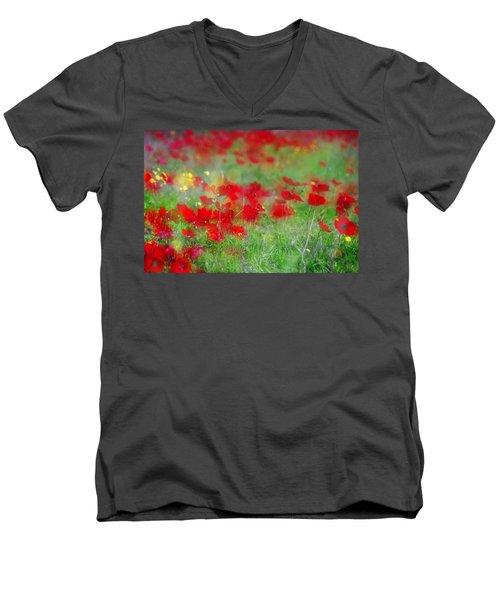 Impressionistic Blossom Near Shderot Men's V-Neck T-Shirt