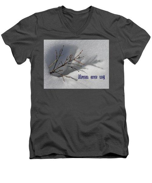 Impressions Never Give Up Men's V-Neck T-Shirt