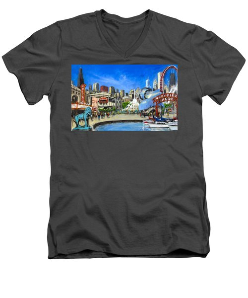 Impressions Of Chicago Men's V-Neck T-Shirt by Robert Reeves