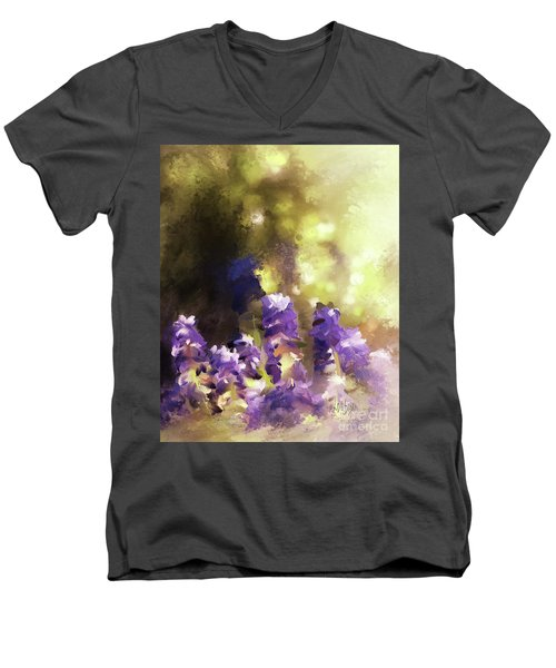 Men's V-Neck T-Shirt featuring the digital art Impressions Of Muscari by Lois Bryan