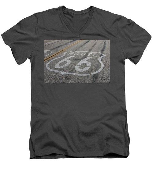 Men's V-Neck T-Shirt featuring the photograph In A Hurry by Laddie Halupa