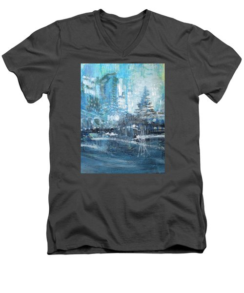 Men's V-Neck T-Shirt featuring the painting In A Winter Urban Park by John Fish