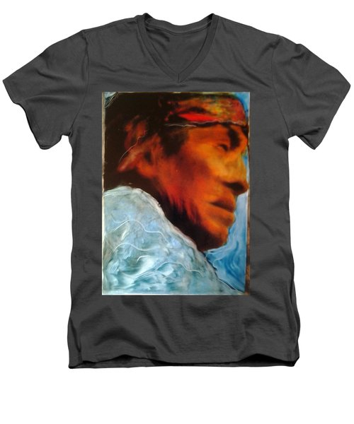 Men's V-Neck T-Shirt featuring the painting In Cool Clear Waters by FeatherStone Studio Julie A Miller