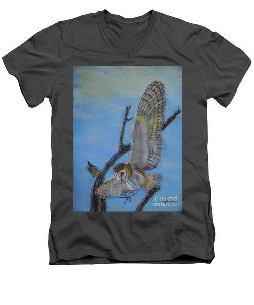 In Flight Barn Owl Men's V-Neck T-Shirt