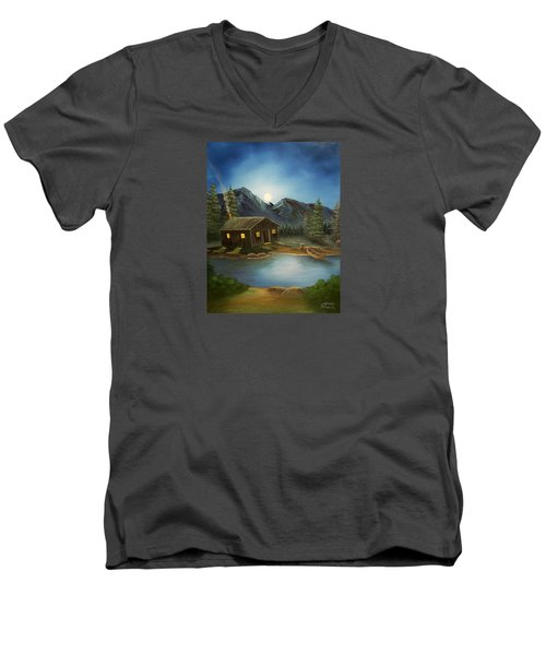 Men's V-Neck T-Shirt featuring the painting In For The Night by Sheri Keith