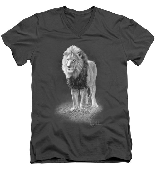 In His Prime - Black And White Men's V-Neck T-Shirt by Lucie Bilodeau