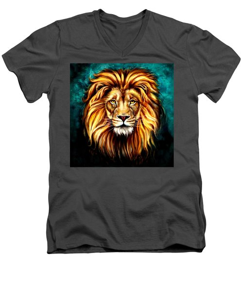 Men's V-Neck T-Shirt featuring the digital art In Honor Of Cecil by Karen Showell