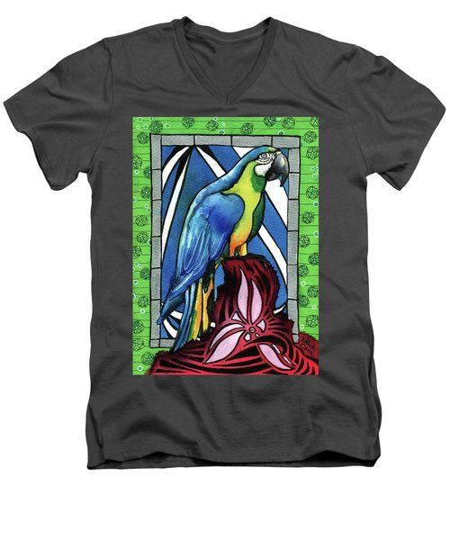 Men's V-Neck T-Shirt featuring the painting In Love With A Macaw by Dora Hathazi Mendes
