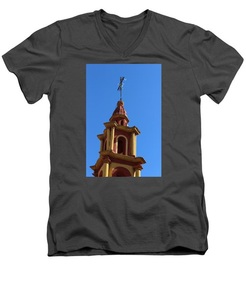 In Mexico Bell Tower Men's V-Neck T-Shirt by Cathy Anderson