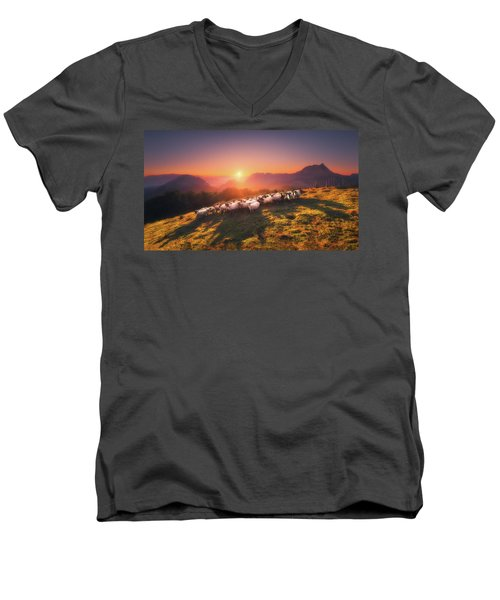 In Saibi With Companionsheep Men's V-Neck T-Shirt