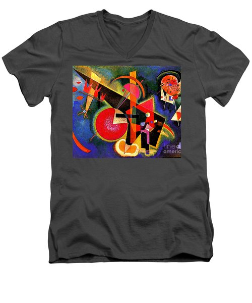 In The Blue Men's V-Neck T-Shirt by Kandinsky
