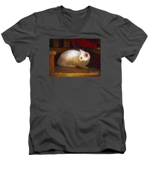 In The Chair Men's V-Neck T-Shirt by John  Kolenberg
