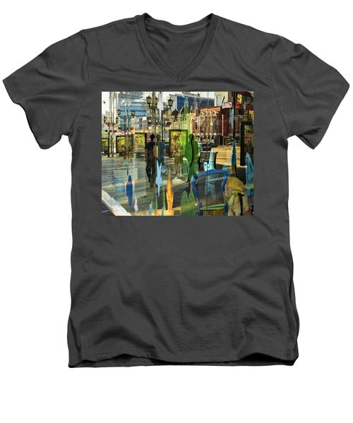 Men's V-Neck T-Shirt featuring the photograph In The City by Vladimir Kholostykh