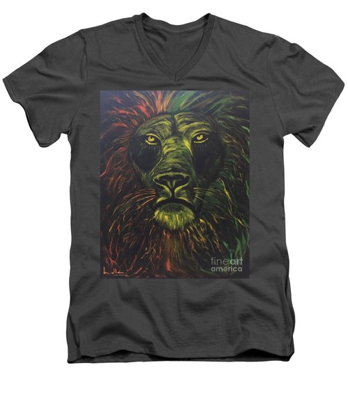 Men's V-Neck T-Shirt featuring the painting In The Dark by Brindha Naveen