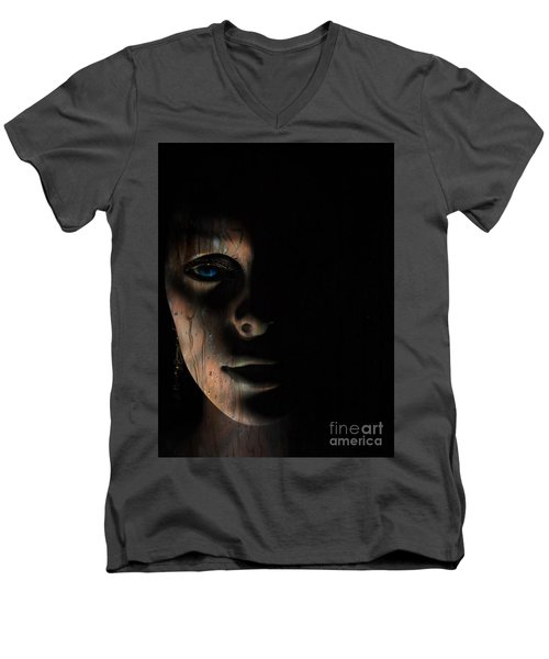In The Dark Men's V-Neck T-Shirt by Trena Mara