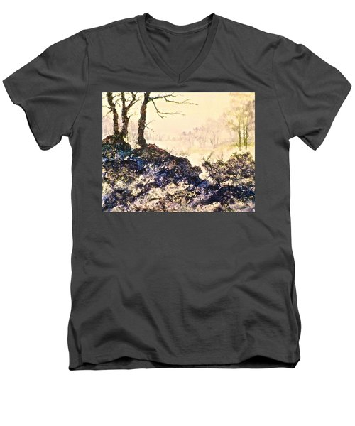 Men's V-Neck T-Shirt featuring the painting In The Distance by Carolyn Rosenberger