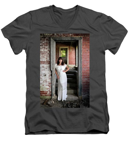 Men's V-Neck T-Shirt featuring the photograph In The Doorway by Rick Berk