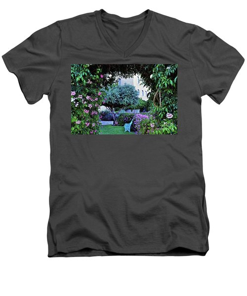 In The Garden At Mount Zion Hotel  Men's V-Neck T-Shirt by Lydia Holly