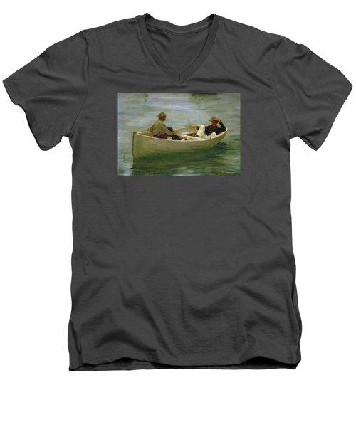 In The Rowing Boat Men's V-Neck T-Shirt by Henry Scott Tuke