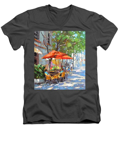 In The Shadow Of Cafe Men's V-Neck T-Shirt by Dmitry Spiros
