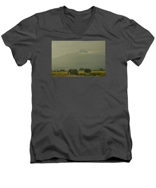 Men's V-Neck T-Shirt featuring the photograph In The Shadow Of Kilimanjero by Gary Hall