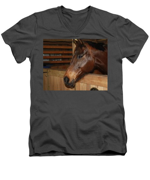 Men's V-Neck T-Shirt featuring the painting In The Stall by Roena King