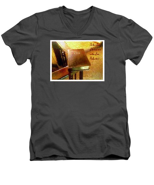 Men's V-Neck T-Shirt featuring the photograph In The Volume Of The Book by Glenn McCarthy Art and Photography