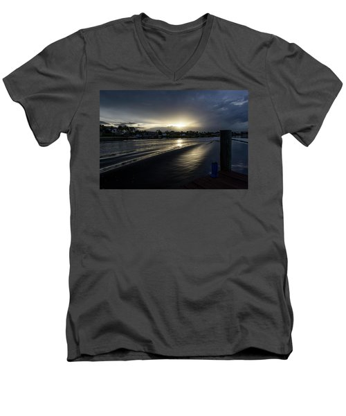 Men's V-Neck T-Shirt featuring the photograph In The Wake Zone by Laura Fasulo
