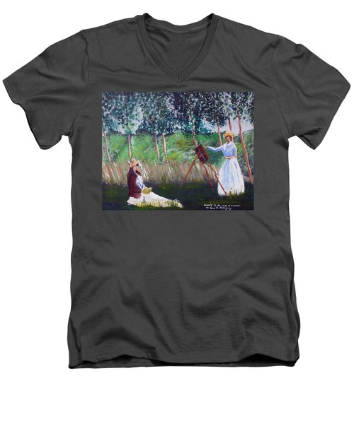 In The Woods At Giverny Men's V-Neck T-Shirt by Luis F Rodriguez