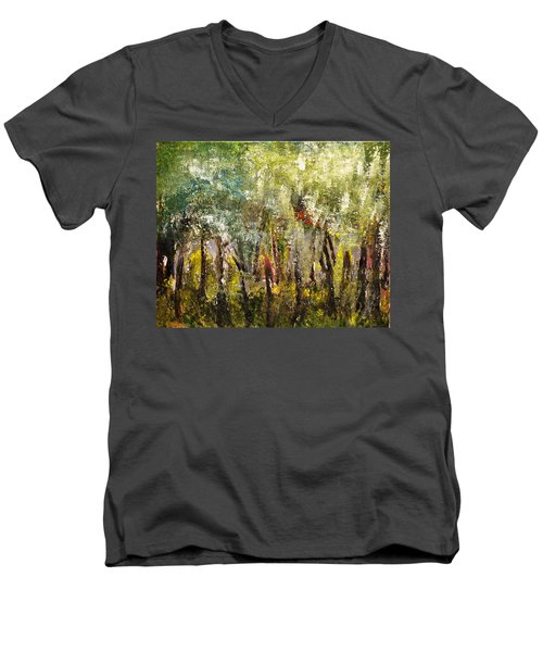Men's V-Neck T-Shirt featuring the painting In The Woods by Evelina Popilian