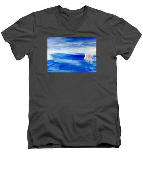 Men's V-Neck T-Shirt featuring the painting In This Sea Of Life by Trilby Cole