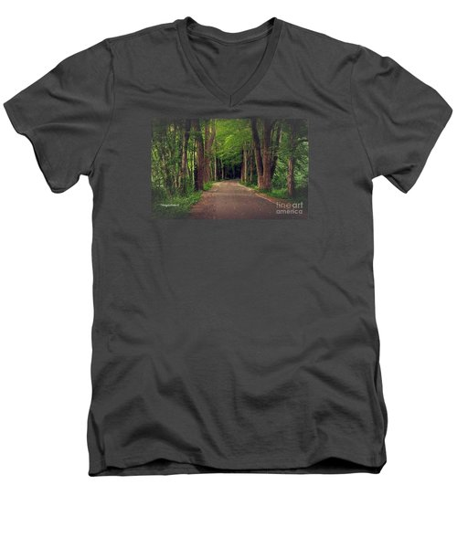 In To The   Deep Dark Woods  Men's V-Neck T-Shirt by MaryLee Parker
