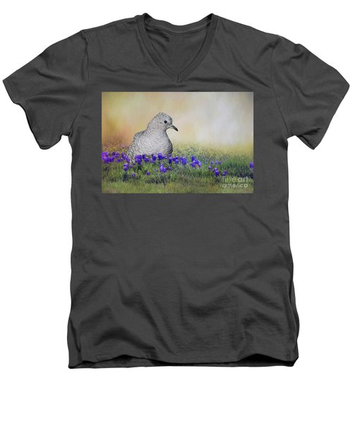 Men's V-Neck T-Shirt featuring the photograph Inca Dove  by Bonnie Barry