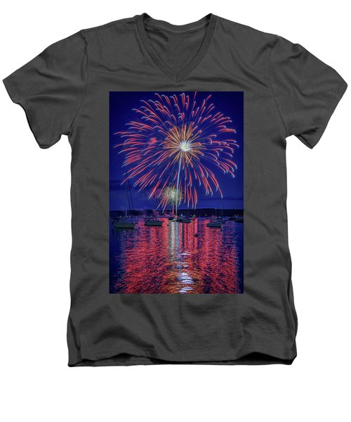 Men's V-Neck T-Shirt featuring the photograph Independence Day In Boothbay Harbor by Rick Berk