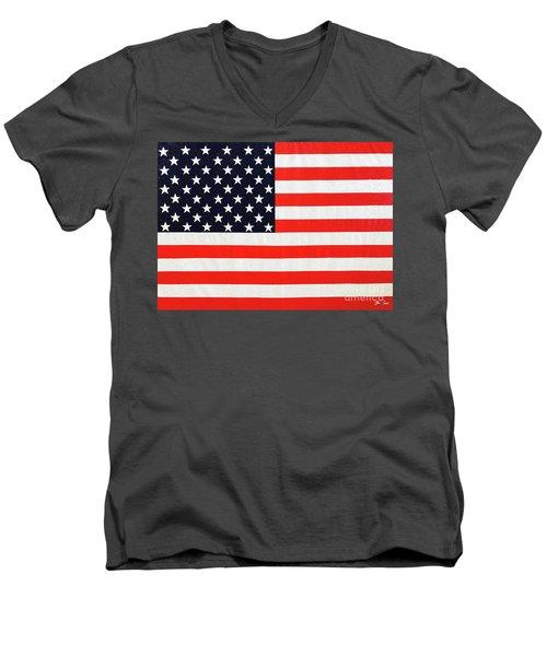 Pooling Independence Day Large Scale Oil On Canvas Original United States Flag Men's V-Neck T-Shirt
